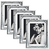 WOLTU 5er Packung Bilderrahmen 13x18cm Bild Rahmen Foto Galerie Bilder Collage Plastik Barock Silber,BR9748sb-5