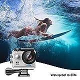 Eken h9r Action Cam 4K WiFi wasserdichte Kamera 170° Weitwinkel Sport Action Camera wasserdicht mit batteria1050mAh Batterie Fernbedienung und Halterungen für die Montage, silber