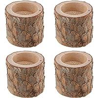 Lot de 4 bougeoirs en bois de pin naturel pour décoration de table rustique pour fête de mariage, anniversaire, maison…