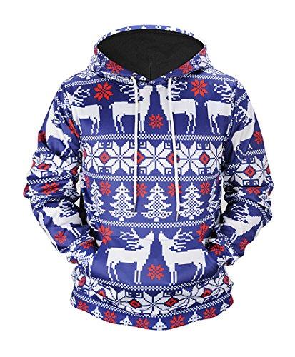 Honeystore Unisex 3D Druck Hoodie Kapuzenpullover Langarm Sweatshirt Weihnachten Davidshirsch Drucken Kapuzenjacke Mit Taschen Blau XL