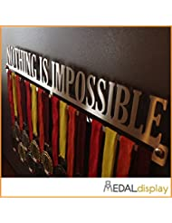 MEDALdisplay - Medallero para pared, con texto «Nothing Is Impossible» Talla:600 mm x 90 mm x 3 mm