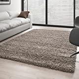 Teppich Hochflor Wohnzimmer Langflor Shaggy Unifarbe vers. Farben und Größen - Taupe, 160x230 cm