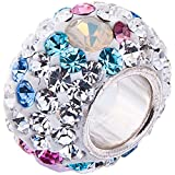 Opal and Swarovski Crystal Charm 10 x 8mm- 925 Sterling Silver. Fits 3mm European Bracelets. GIFT BOX