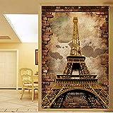 Papel pintado personalizado para paredes 3D Retro Estilo europeo Torre Eiffel Pintura de pared Entrada Fondo Telón de fondo Mural Papel pintado Ladrillo, 400 * 280 cm