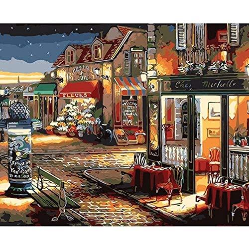 Kostüm Märchen Junior - RYUANYUAN Hand Ölgemälde Straße Märchen Dekorative Leinen Malerei Spiegel Wandkunst Für Wohnzimmer 16x20 inch (40x50 cm) Rahmenlos