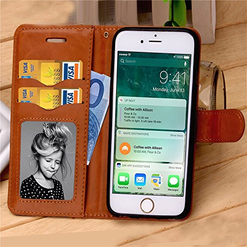 iPhone Case Cover Mixed couleur Wave Pattern Housse Housse Jeans PU Cuir Retro Folio Stand Housse Housse Avec Cash Card Slots pour iPhone 7 Plus ( Color : Gray , Size : IPhone 7 Plus ) Black
