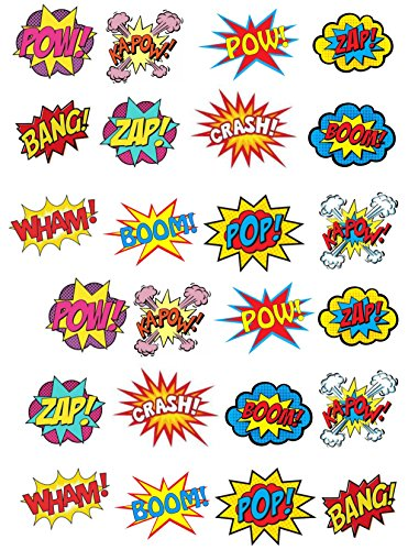 24 Stand Up Premium Edible Wafer Paper Superhero Retro Pow Zap Comic Book Style Cake Toppers Decorations by Top That (Standup-comic)