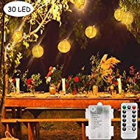Funmo String Lights Outdoor, Decorative Garden Fairy Lights Waterproof Lantern Lights LEDs Decoration for Christmas/Halloween/Garden/Patio/Party/Yard (30 Lampions 7.8M Cables)