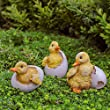 Set of Three Realistic Hatching Duckling Garden Ornaments in Coloured Resin