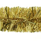 2m (6.5ft) Deluxe Thick Chunky Wide Gold Shiny Christmas Tree Tinsel Garland with Embossing Decoration