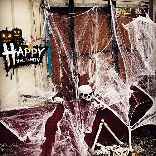 solawill Halloween Spinnennetz , 2 pcs Spinnweben mit 10 Spinnen Halloween Decoration  Dehnbare Spinngewebe für Halloween Decoration Party Karneval Deko - 2