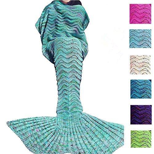 Meerjungfrau Decke Bettdecke Handgefertigte Strickdecke Soft Schlafsack Kuscheldecke für Damen und Mädchen Gras-Grün 188 x 89cm