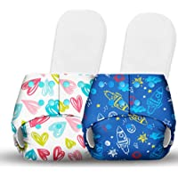 Basic Certified Soft Fleece Lined 2 Pocket Diapers with 2 Wet-Free Insert with Snaps (One Size Adjustable Diapers, 5-17…