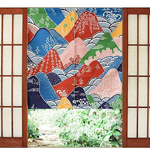 Acuarela Noren cortina japonés Fuji Berg Impresión Puerta cortinas algodón Lino biombos decorativa pared decoración tapiz Partition cortinas Veranda Dormitorio Cuarto de baño pared colgantes, multicolor, 33.5*35.5in