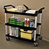 ADVANTUS Mobile Utility Cart, 3 Shelves, 19.5 x 38.5 Inches, Black (93051)