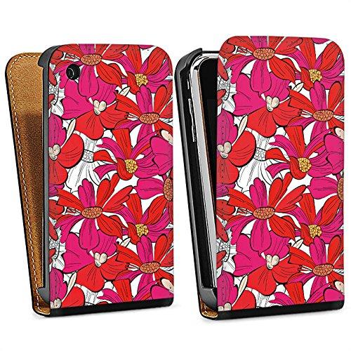 Apple iPhone 5s Housse Étui Protection Coque Fleurs Fleurs Été Sac Downflip noir