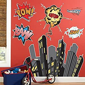 Birthday Express - Superhero Comics Giant Wall Decals - Multi-colored by Birthday Express