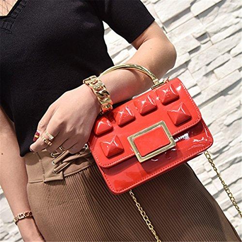 Damen Schulter Schräge Kreuz Paket Reine Hand Freizeit Kette Farbe Helle Seite Kleine Paket Mode Tasche Rot