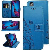KUAWEI Funda Huawei P20 Cover Huawei P20 Funda con Tapa Flip Case Carcasa Cartera Cubierta de Cuero PU con Soporte Plegable y Stand Función Ranuras para Tarjetas,Billetera,Cierre Magnético (Azul)