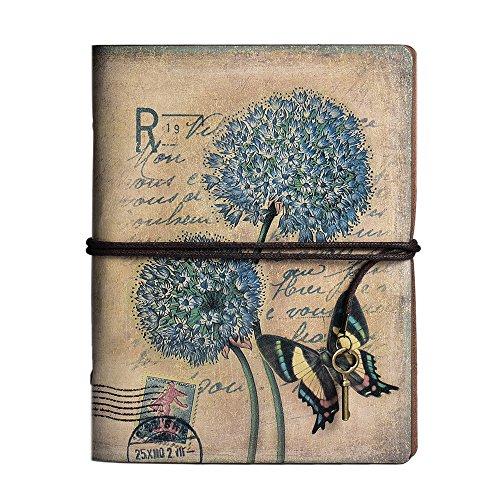 Taccuino agenda in pelle, MALEDEN vintage Traveler notebook, classica, ricaricabile, agenda, diario, album per schizzi, per ragazze e ragazzi con copertina rigida e tasca con zip Dandelion