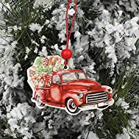 CFHBGK 3Pcs Christmas Truck Wooden Pendants Ornaments For Christmas Tree Ornament New Year Decoration Party Kid Toys