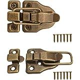 FUXXER® - 2 x sluitingen voor kisten, kisten, dozen, koffers, metalen beslag, vintage messing design, set van 2 inclusief sch