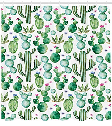 tgyew Green Decor Shower Curtain, Mexican Texas Cactus Plants Spikes Cartoon Like Art Print, Fabric Bathroom Decor Set with Hooks, 60x72 inches, White Pink (Green Man Suite)