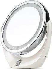 BROADCARE Specchio da Trucco con Luci LED 1X/5X con Ingrandimento a Doppia Faccia Portatile Ricaricabile con Cavo USB Utile Anche per Viaggio