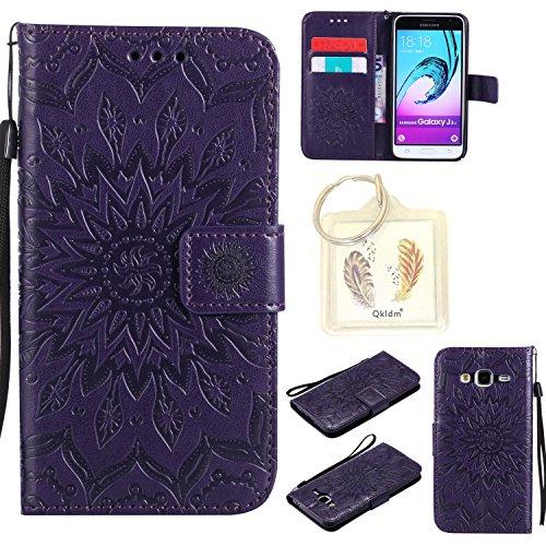 Preisvergleich Produktbild für Samsung Galaxy J3 2016/J310 Geprägte Muster Handy PU Leder Silikon Schutzhülle Handy case Book Style Portemonnaie Design für Samsung Galaxy J3 2016/J310 + Schlüsselanhänger/*16 (7)