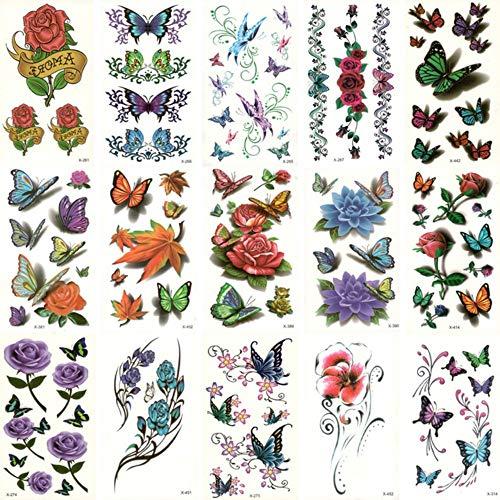 Yangll Gefälschte Temporäre Wasserdichte Tattoo Wassertransfer Bunte Blume Schmetterling Aufkleber Beauty Body Art Live Von Song 10,5X6 cm