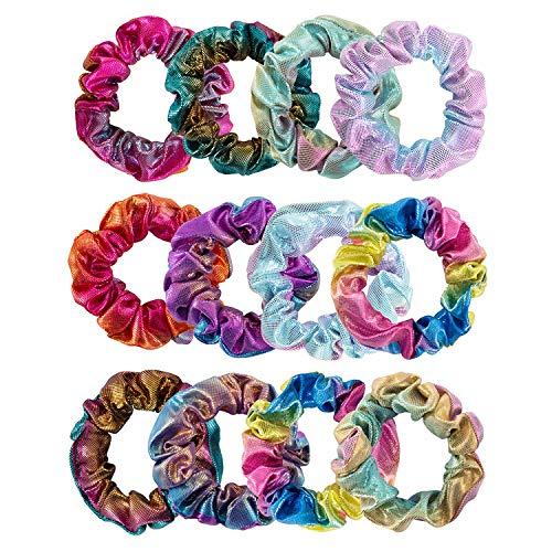 Zwoos elastici per capelli per donne e ragazze, colore metallico sfumato, 6 colori, confezione da 12