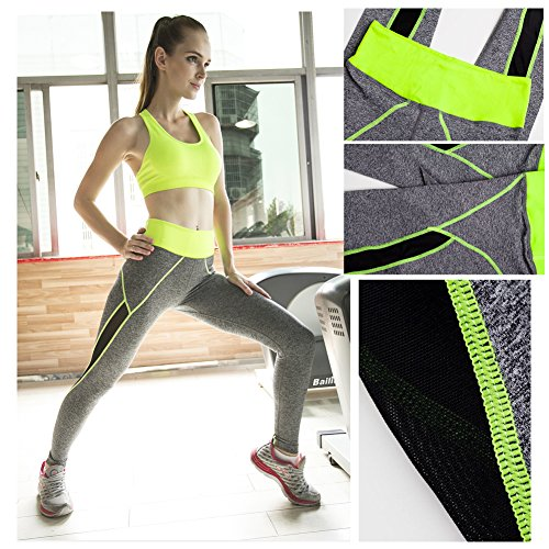 Jelinda® Femme Pantalon de Sport avec Gauze Noir des Côtés pour Yoga vert et gris