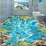 Fushoulu Pvc Selbstklebende Wasserdichte 3D Bodenfliesen Wandpapier Aufkleber Goldfish Korallenriff Fototapeten Badezimmer 3 D Bodenbeläge Tapeten-150X120Cm
