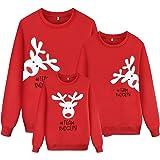 Sudadera Navidad Familia Jersey Navideño Niño Niña Sueter Hombre Mujer Reno Estampadas Pullover Cuello Redondo Invierno Sudad