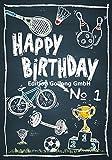 Glückwunschkarte zum Geburtstag für Sportler * Fahrrad & Sportgeräte * Chalkboard