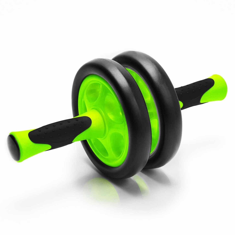 Rodillo-AB / Aparato para entrenamiento de abdominales / Rodillo para abdominales »TheBodyWheel« / Perfecto para ejercitar los hombros, la espalda y la musculatura abdominal / desmontable / verde
