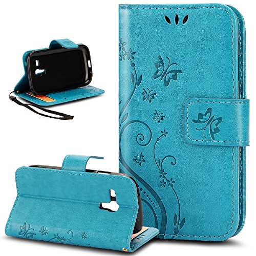 Custodia Galaxy S3 Mini,Cover Galaxy S3 Mini,ikasus Goffratura Arts Farfalla Fiore Immagine Flip Cover Portafoglio PU Pelle Protective Wallet Stand Custodia Cover per Galaxy S3 Mini,Blu