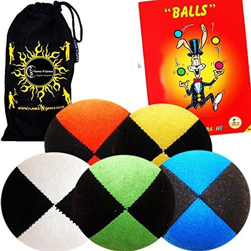 Flames N Games Pro Wildleder Jonglieren Bälle-Jonglierbälle Set von 5+ Jonglierball Book Of Tricks & Reisetasche.