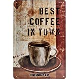 Nostalgic-Art 22156  - Best Coffee in Town | Retro Blechschild | Vintage-Schild | Wand-Dekoration | Metall | 20x30 cm