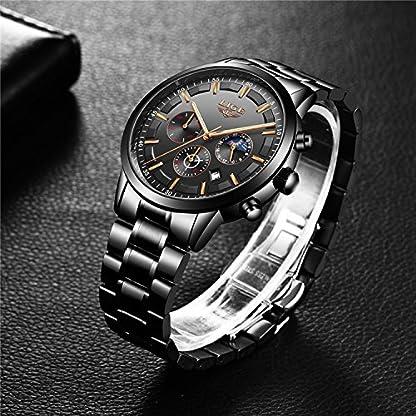 Luxus-Fashion-Herren-Uhren-Schwarz-Edelstahl-Band-Sport-Chronograph-Datum-Kalender-Wasserdicht-Multifunktions-Armbanduhr-Analog-Quarz