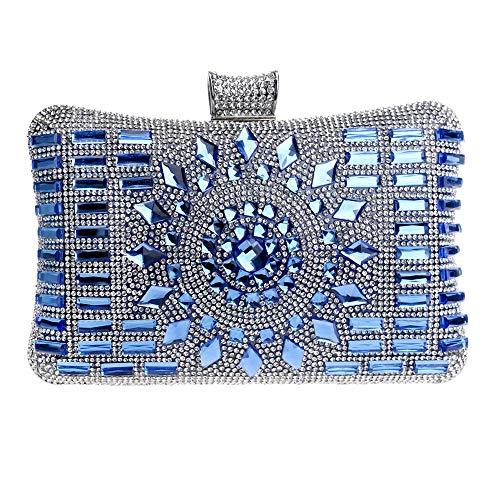 Sky-Grow Weich Womens Clutch Bag Diamond Dress Abendtasche Damen Party Prom Bankett Handtasche Geldbörse Handtasche (Farbe : Blau, Größe : 20 * 6 * 12cm)