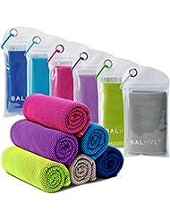Balhvit® Kühlung Handtuch, 100x30cm Microfaser Handtuch, Schweißsaugfähig Kühlendes Kaltes Eishandtuch, Sofort Eis Kalt Mikrofaser Handtücher für Fitness Reise Yoga Golf Schwimm Camping Wandern