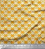 Soimoi Gold Baumwoll-Popeline Stoff blühen Damast Dekor