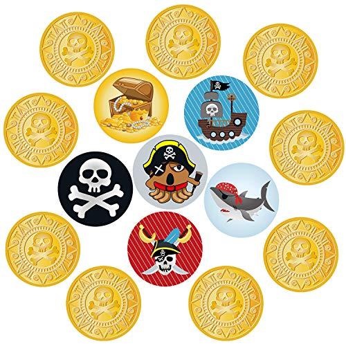 Oblique Unique® 15 x Konfetti mit Piraten Gold Münzen Schiff Schatzkiste Totenkopf Rund in für Piraten Party Kinder Geburtstag Tisch Deko Streudeko