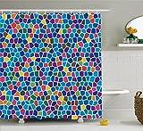 Abakuhaus Duschvorhang, Buntes Mosaik Muster Kinderfreundliches Design Fröhlich Lebhafter Hochwertiger Digital Druck, Blickdicht aus Stoff inkl. 12 Ringe für Das Badezimmer Waschbar, 175 X 200 cm