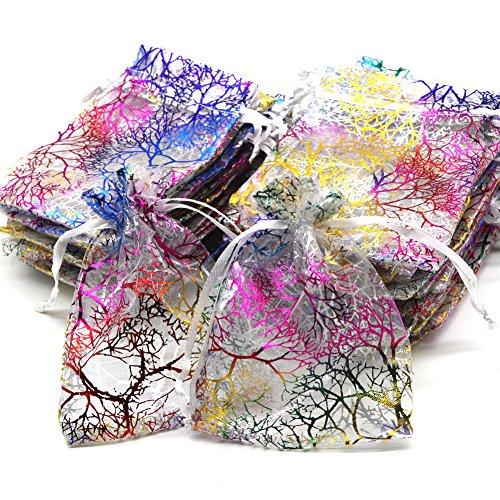 Kebinfen® 100 PCS 9x12CM Coral Pattern Drawstring Organza Bags for Wedding Favour Bags Jewellery Pouches (100 PCS, White)