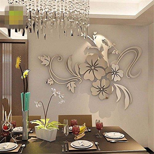 Odjoy-fan 3d mirror floral art adesivo da parete rimovibile acrilico murale decalcomania home room decor-wall sticker specchio wall acrilico murale decalcomania-acrylic crystal decal