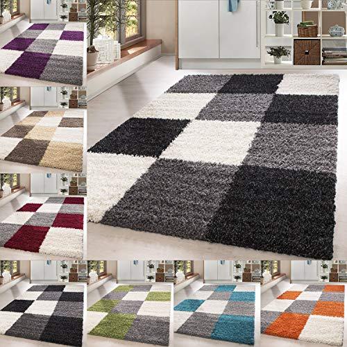 Homebyhome tappeto shaggy, pelo lungo, motivo a quadri, misura grande, polipropilene, turchese, 120 x 170 cm