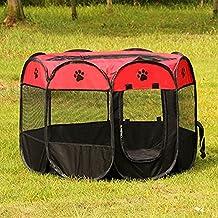 Parque Mascota de Juego Entrenamiento Dormitorio Conejo Octágono Plegable Lavable Durable 73x 73x 43 CM (73*73*43CM, rojo)
