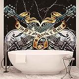 Gitarren Rock Roll Heavy Metal - Wallsticker Warehouse - Fototapete - Tapete - Fotomural - Mural Wandbild - (1084WM) - XXL - 312cm x 219cm - VLIES (EasyInstall) - 3 Pieces
